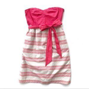 Anthro Maeve Pink Beige Strapless Dress 8